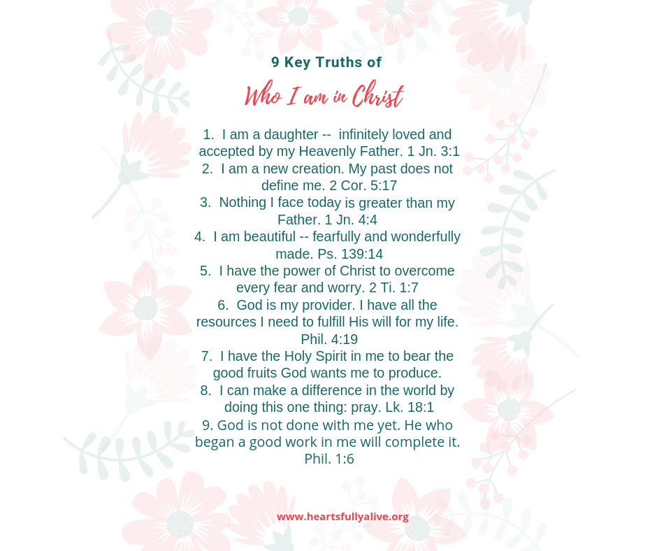 image relating to Who I Am in Christ Printable known as 9 mystery truths of who I am in just Christ - absolutely free printable - Hearts