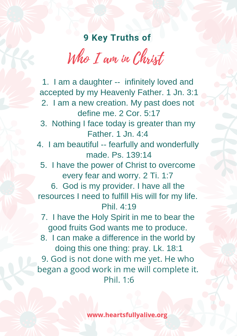 9 Key Truths Of Who I Am In Christ Free Printable Hearts Fully Alive